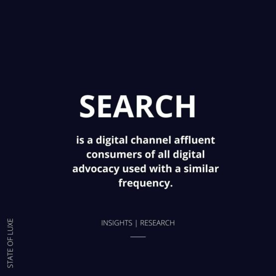 Search is a digital channel all affluent consumers of all digital advocacy used with a similar frequency
