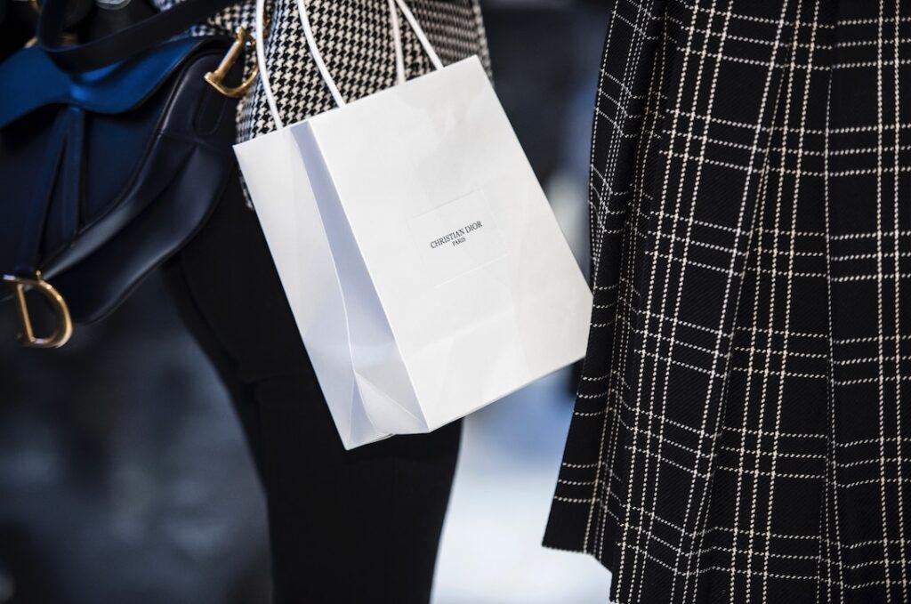 Christian Dior white carrier bag